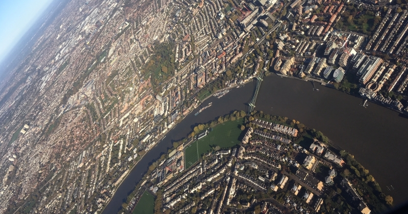 Aerial view of river Thames at Hammersmith Bridge